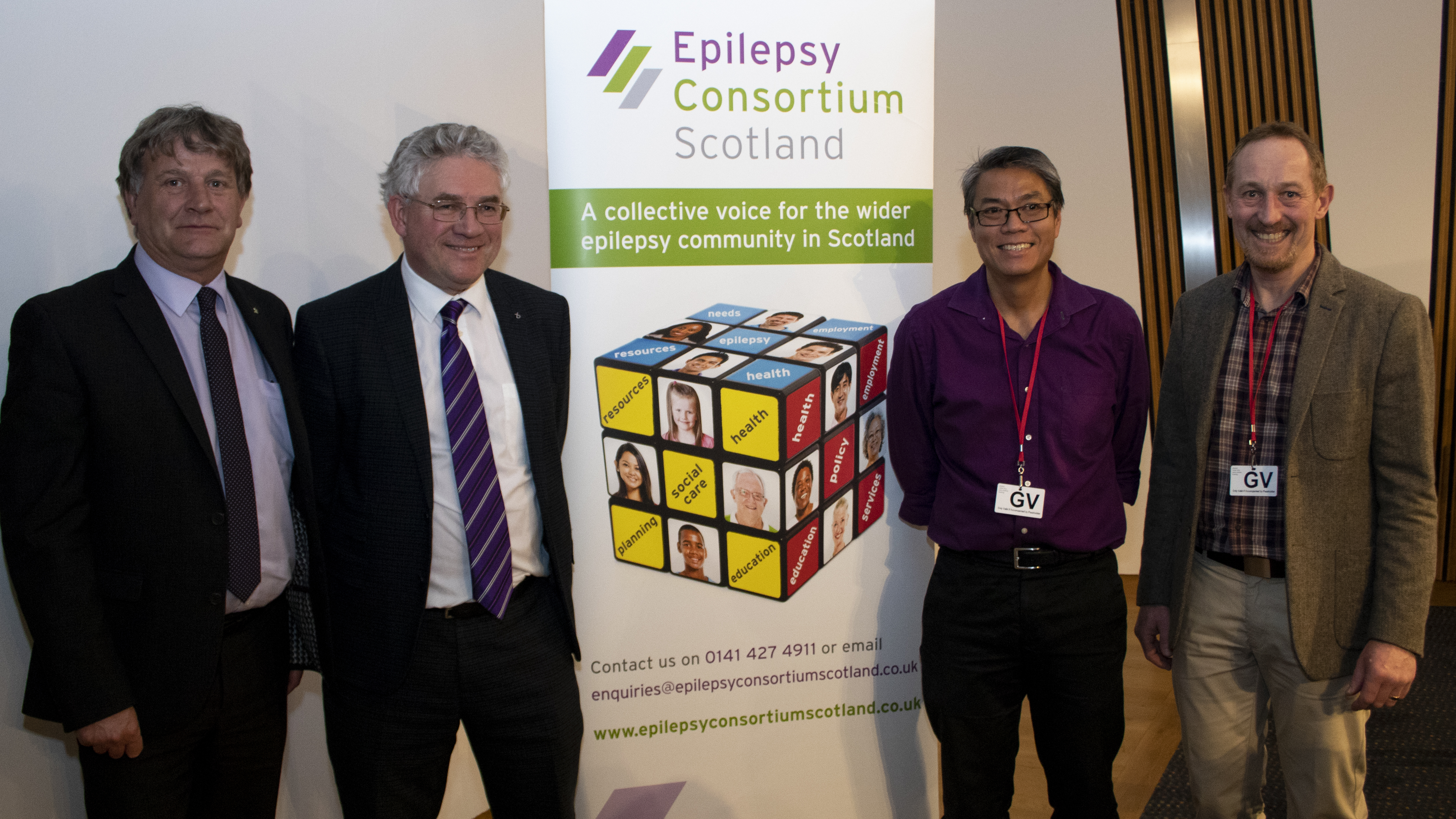 Pictured Left to Right: David Torrance (MSP) Kenneth Gibson (MSP), Dr Richard Chin (Director of the Muir Maxwell Centre, Consultant Paediatric Neurologist, and Senior Clinical Lecturer in paediatric neurosciences at Edinburgh University) Sam Whitmore (Chair, Epilepsy Consortium Scotland)